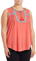 Style And Co. Plus Taped Sleeveless Peasant Top