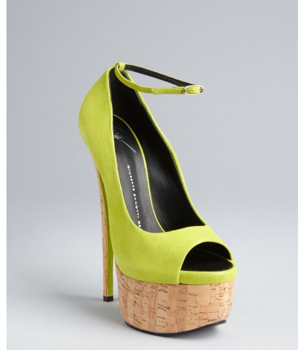Giuseppe Zanotti lime suede and cork platform peep toe pumps