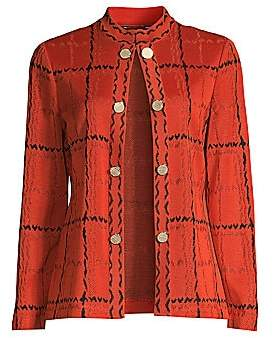 Misook Women's Grand Plaid Knit Jacket