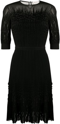 Alexander McQueen Ruffled Smocked Midi Dress