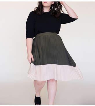 Ori Women Plus Size Asymmetric Pleated Midi Skirt