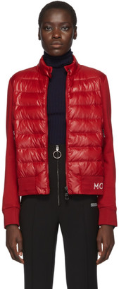 Moncler Red Knit Down Logo Jacket