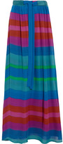 Etro Printed Silk Crepe De Chine Maxi Skirt - Blue