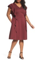 Sejour Plus Size Women's Ruffle Ponte Dress