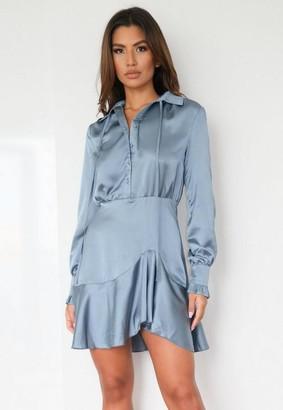 Missguided Blue Satin Asymmetric Shirt Dress