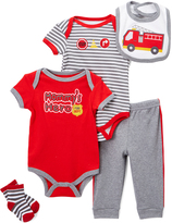 Buster Brown Red & Heather Gray 'Mommy's Hero' Five-Piece Layette Set