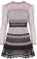 Self-Portrait Bellis Ruffle-trimmed Guipure Lace Mini Dress