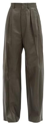 Dodo Bar Or Momo Leather Wide-leg Trousers - Dark Green