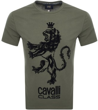 Just Cavalli Cavalli Class Crew Neck Logo T Shirt Green