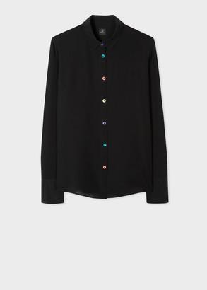 Women's Black Silk Shirt With Multi-Colour Buttons