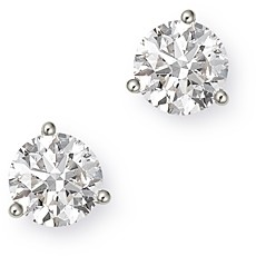 Bloomingdale's Certified Diamond Solitaire Stud Earrings in 14K White Gold, 3.0 ct. t.w. - 100% Exclusive
