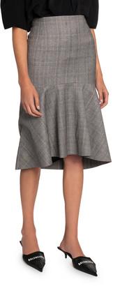 Balenciaga Multi-Checked High-Rise Skirt