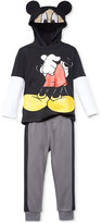 Nannette Little Boys' 2-Pc. Mickey Mouse Graphic-Print Hoodie & Pants Set