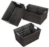 Whitmor Rattique Storage Baskets, Set of 3, Espresso