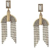 GUESS Baguette Top w/ Chain Drop Earrings (Gold) Earring