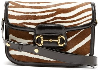Gucci 1955 Horsebit Zebra-print Calf Hair & Leather Bag - White Brown