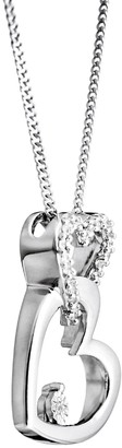 Love Diamond Love DIAMOND Sterling Silver Diamond Set Interlocking Hearts Pendant Necklace