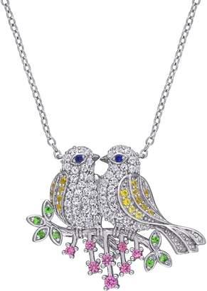 Laura Ashley Budgie Birds Sapphire Tsavorite Pendant Necklace