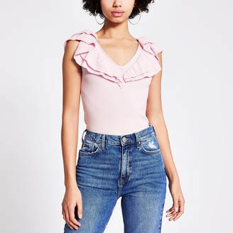 River Island Womens Pink frill V neck knitted vest top