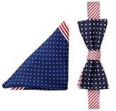 Alara Silk Americana Dots & Stripes Bow Tie & Pocket Square Set