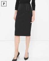 White House Black Market Petite Black Lace-Up Waist Pencil Skirt