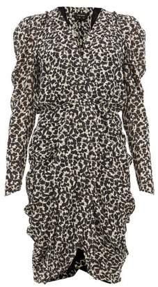 Isabel Marant Issolya Ruched Floral Print Chiffon Midi Dress - Womens - Black White
