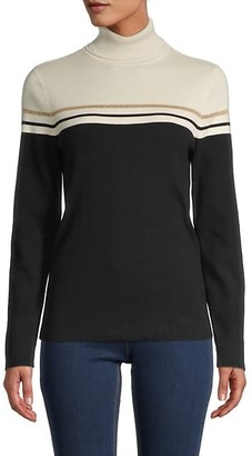 Anne Klein Striped Turtleneck Cotton-Blend Top