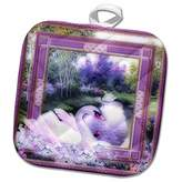 3dRose Spiritual Awakenings Animals - Beautiful white swan by the lake and purple decorated pattern frame a nature beauty - 8x8 Potholder (phl_128834_1)