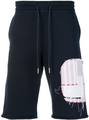 Thom Browne Shirting Patchwork Icon Sweatshort