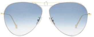 Loewe Aviator Metal Sunglasses - Womens - Blue Gold