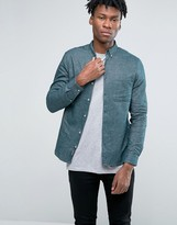 Pull&Bear Oxford Shirt In Green In Regular Fit