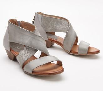 Miz Mooz Leather Studded Cross-Strap Wide Sandals- Candace