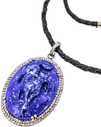 Arthur Marder Fine Jewelry Silver .85 Ct. Tw. Diamond & Lapis Necklace