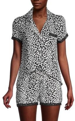 2-Piece Leopard-Print Shirt Short Set
