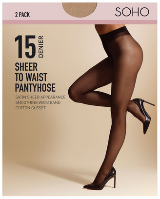 S.O.H.O New York 15D Sheer To Waist 2 Pack Pantyhose Tan