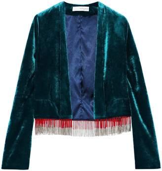 Galvan Moss Fringe-trimmed Velvet Jacket