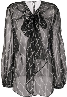 Valentino Sheer Pussy-Bow Blouse