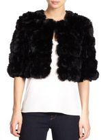 Adrienne Landau Cropped Rabbit Fur Jacket