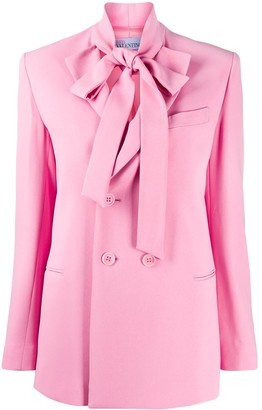 RED Valentino Pussy Bow Double-Breasted Blazer