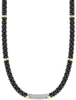 Lagos Black Caviar Ceramic and Diamond Necklace with 18K Gold Stations, 16""