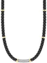 "Lagos Diamond Black Caviar Ceramic Necklace with 18K Gold Stations, 16"""