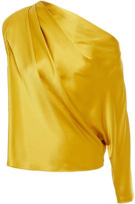 Mason by Michelle Mason One-shoulder Draped Silk-charmeuse Top