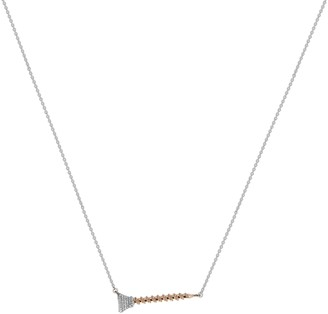 """Hornig & Hill """"Nuts and Bolts of Giving"""" 18ct Diamond and Rose Gold Vermeil Necklace on 14-18"""" Silver Chain"""