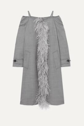 Prada Cold-shoulder Feather-trimmed Wool-blend Coat - Gray