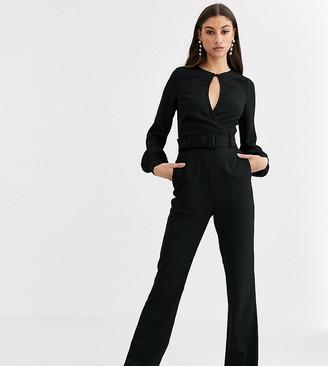 Fashion Union Tall velvet keyhole jumpsuit-Black