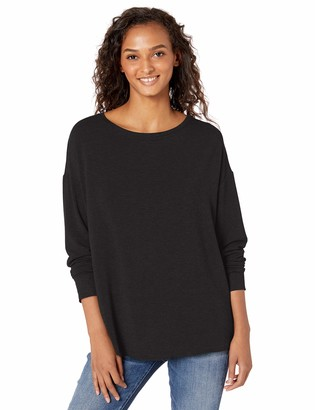 Majestic Filatures Women's French Terry 3/4 Sleeve Drop Shoulder Boat Neck