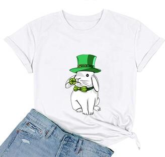jieGorge Blouse Women Elegant Women Fashion St. Patrick's Printing O-Neck Short T-Shirt Loose Blouse Top