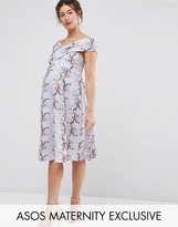 Asos Wrap Bardot Skater Dress In Floral Print