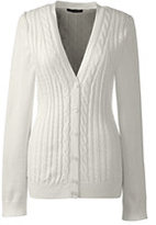 Lands' End Women's Cotton V-neck Cable Cardigan Sweater-Ivory