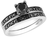 1 CT.T.W. Black Diamond Bridal Set Ring in Sterling Silver